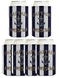 Funny Beer Coolie Captain Awesome Nautical Sailing Boating 6 Pack Can Coolie Drink Coolers Coolies Nautical Stripes