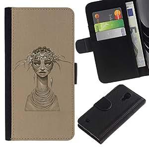 // PHONE CASE GIFT // Moda Estuche Funda de Cuero Billetera Tarjeta de crédito dinero bolsa Cubierta de proteccion Caso Samsung Galaxy S4 IV I9500 / African Woman /