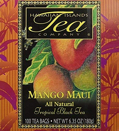 Mango Maui Tropical Black Tea, All Natural, 100 Teabags, Blended and Packed in Hawaii