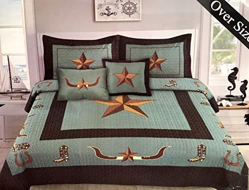 Linen Mart Western Rustic Longhorn Star & Boots Bedspread Quilt - 5 Piece Set (King)