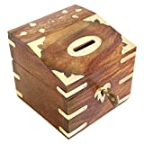 Indian Glance Money Saving Box Banks - Money Safe for Kids Box Wooden Piggy Bank Gifts For Boys Girls And Adults