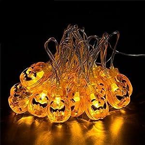 Solar Halloween Lights with 30 led Pumpkin Light,Jack o Lantern Light 20ft 30LEDs,Orange Halloween Lights Outdoor for Patio, Garden,Parties (IP65 Waterproof,8 Light Modes Warm White)