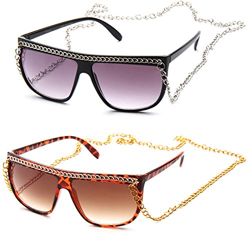 Flat Top Oversized Retro Chain Sunglasses with Metal Chain on Top & Neck]()