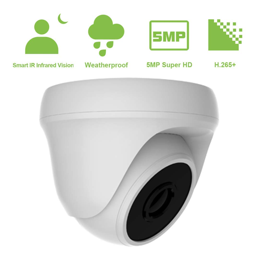 5MP Surveillance Security Camera for Home, Hybrid 4-in-1 CVBS CCTV Surveillance Weatherproof Dome Security Camera,Metal Housing, Outdoor Indoor, Night Vision, Wide Angle Viewing White
