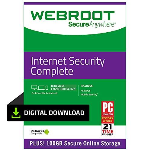 Webroot Internet Security Complete with Antivirus Protection | 10 Device | 1 Year Subscription | PC Download (Best Low Resource Antivirus 2019)