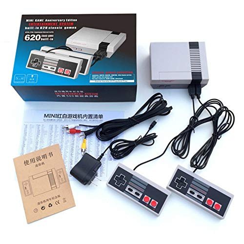 (2019 Newest!)Classic mini game console classic game console built-in 620 game video game console , AV output, 8-bit and two control handles, bring you happy childhood memories