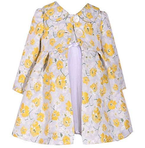 (Bonnie Jean Baby Toddler 12M-4T Yellow Floral Brocade Dress Coat Set (3T))