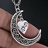 Crescent Moon and Paws Pendant