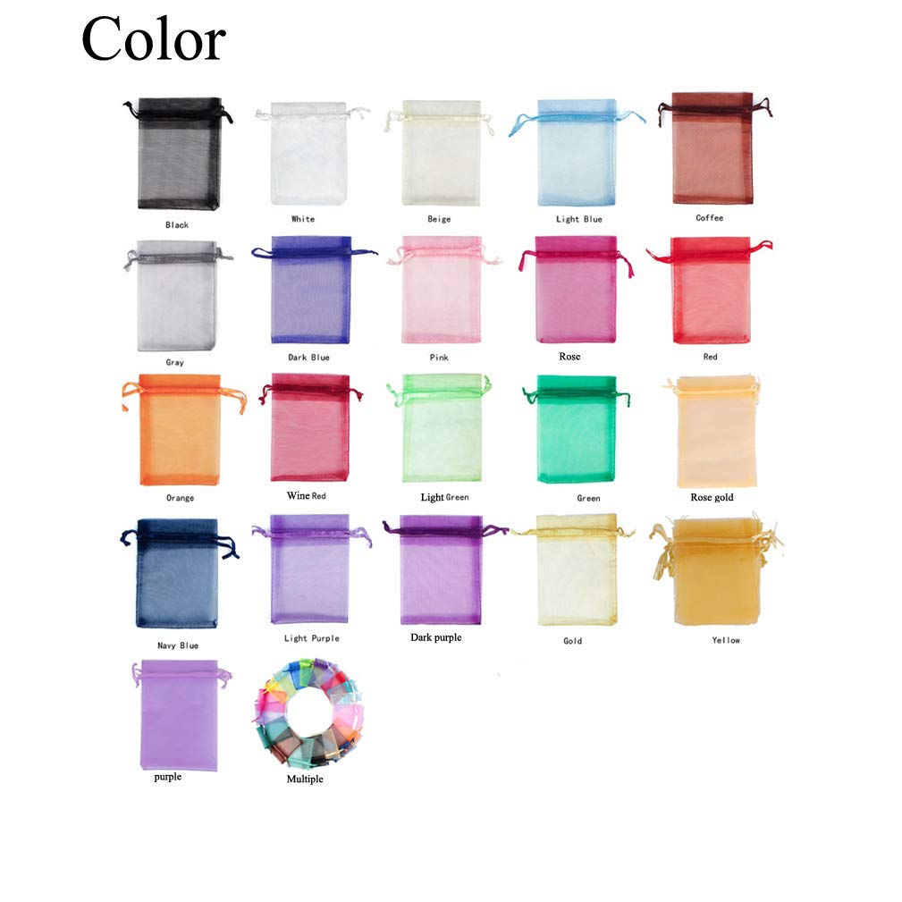 Rose Gold, 4.3x6.2,50PC 4EAELove Organza Bags Sheer Drawstring Storage Jewelry Pouches Wedding Party Christmas Favor Candy Gift Bags