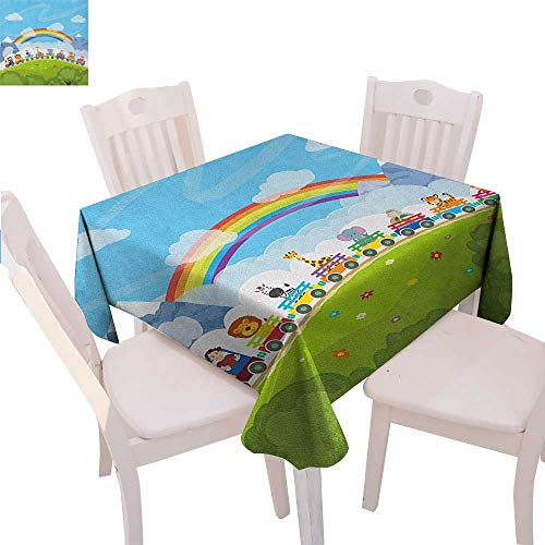 Mountain Laurel Nursery - BlountDecor Nursery Customized Tablecloth Cartoon Railway Train with Various Animals and a Rainbow Mountains Clouds Trees Tablecloth That can be Used as a Tapestry 60