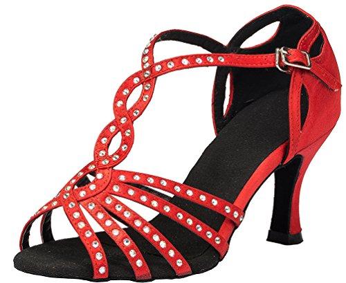 Abby Yfyc-l065 Donna Latino Tango Ballroom 3 Pollici Scarpe Da Ballo Raso Professionale Tacco Rosso