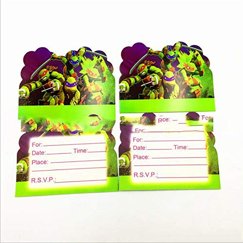 Fragil Tox Invitation Card Baby Shower Theme Party Decoration Cartoon Ninja Turtles Invitation Cards Boys Kids Favors Birthday Events Supplies 10pcs/lot Multi Medium -