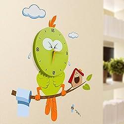 NEW Novelty DIY Wall Sticker Cartoon Bird Style Quartz Wall Clock Art Clock For Homeapply To Living Room Bedroom Children Room Green