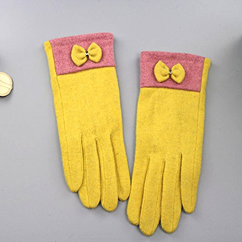 DHWM-Warm gloves President of the Korean version of the bow tie yellow gloves Outdoor riding cashmere gloves by DHWM