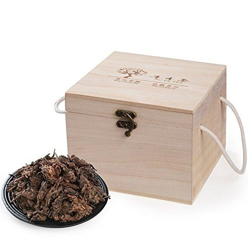 Dian Mai Golden bud pearl old tea 500 grams of Pu'er tea cooked tea loose tea Premium Iceland old tree old tea head wooden box 滇迈 金芽珍珠老茶头500克普洱茶熟茶散茶 特级冰岛古树 陈年老茶头木盒装
