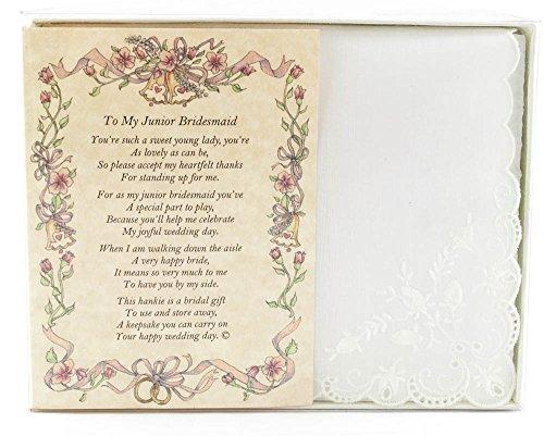Wedding Handkerchief Poetry Hankie (for Bride's Junior Bridesmaid) White, Lace Embroidered Bridal Keepsake, Beautiful Poem | Long-Lasting Memento for The Bride's Junior Bridesmaid | Includes Gift - Keepsake Hankie