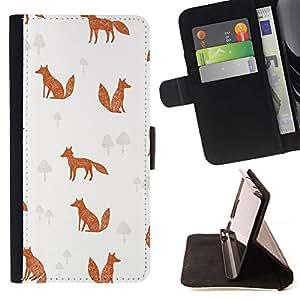 Patrón Canela Fox Clever Animal- Modelo colorido cuero de la carpeta del tirón del caso cubierta piel Holster Funda protecció Para Apple iPhone 5C