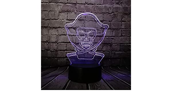 Luz Nocturna Piratas Del Caribe De Dibujos Animados 3D Lámpara Usb ...
