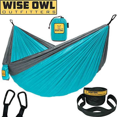(Wise Owl Outfitters Hammock Camping Double & Single with Tree Straps - USA Based Hammocks Brand Gear, Indoor Outdoor Backpacking Survival & Travel, Portable DO)