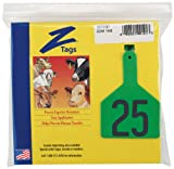 Z Tags 1-Piece Pre-Numbered Hot Stamp Tags for Cows, Numbers from 1 to 25, Green