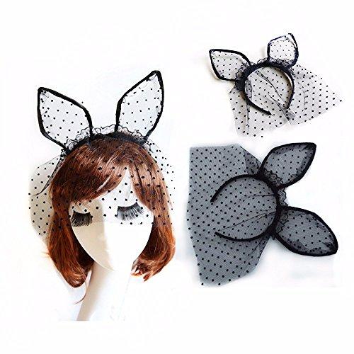 BUNITA,1PC Sexy Black Dot Cat Ears Lace Gauze Veil Hair Mask Headband Headdress Night Club Hair Band