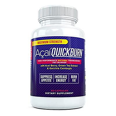 Acai Quick Burn - High Performance Natural Fat Burner Supplement for Men and Women with Acai Berry, Garcinia Cambogia, and Green Tea - Suppress Appetite and Boost Metabolism (60 Capsules)
