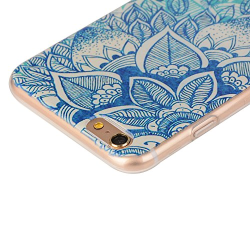 Für Apple iPhone 6 / iPhone 6S (4.7 Zoll) Hülle ZeWoo® TPU Schutzhülle Silikon Tasche Case Cover - YG009/ blaue Blume