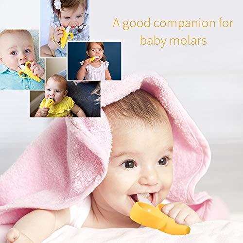 Yellow 2 x Pack Infant Toddler Kids Training Teething Banana for Molars Sunamy Safe Banana Toothbrush Baby Teether BPA Free