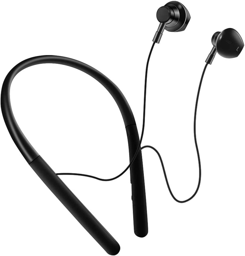 Wireless Headphones,Bluetooth Earphones with HiFi Sound,Sweat-Resistant,Built-in Mic,Secure Fit Sports Earbuds for Gym Running Workout Black