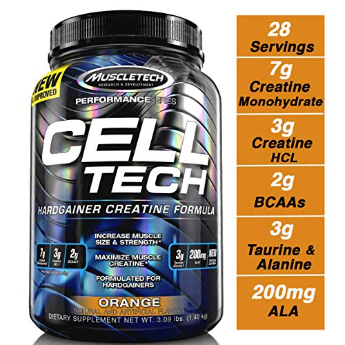 MuscleTech Cell Tech Creatine Monohydrate Formula Powder, HPLC-Certified, Improved Muscle Growth & Recovery, Orange, 30 Servings (3.09lbs) (Best Supplements For Hardgainers)