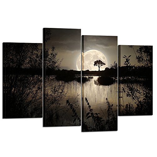 Kreative Arts 4 Pieces Canvas Prints Wall Art Big Moon over Lake in Dark Forest Modern Canvas Painting Landscape Picture Peaceful Jungle Poster Giclee Artwork For Home Decor