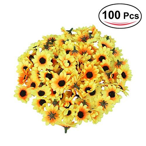 100Pcs Artificial Gerbera Daisy Flowers Heads DIY Cake/Wedding Decoration Artificial Flowers Craft,2