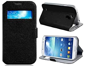 Faux Leather Smart Case with Stand & Magnetic Closure for Samsung Galaxy S4/I9500 (Black)