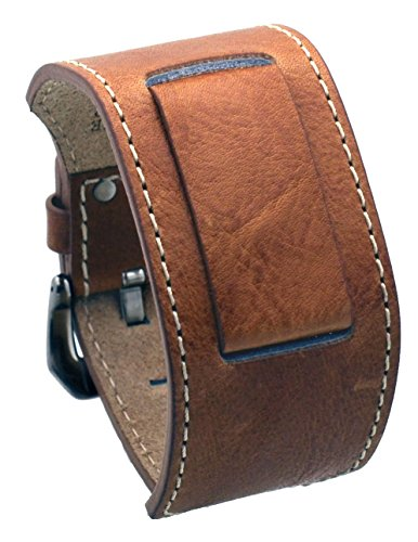 REV ITAL2DBS Casual Military Genuine Leather Cuff Replacement Band - 18 mm to 24 mm Lug Width Watches (22mm-24mm Watch, Light Sugar Brown) (Band Womens Sugar)