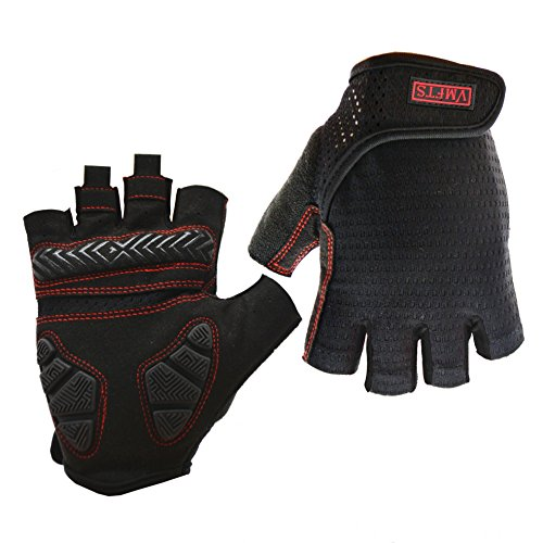 VMFTS Motorcycle Glove Non-Slip Cycling Gloves Spin Bike Weightlifting Gloves for Men Womens Premium Wear-Resisting Gym Gloves Half Finger Black