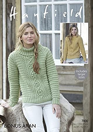 Hayfield Damen Aran Pullover Strickmuster 7800: Amazon.de: Küche ...