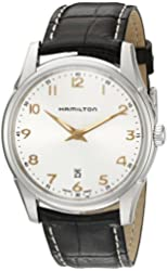 Hamilton Men's 'Jazzmaster' Quartz Stainless Steel and Leather Automatic Watch, Color:Brown (Model: H38511513)