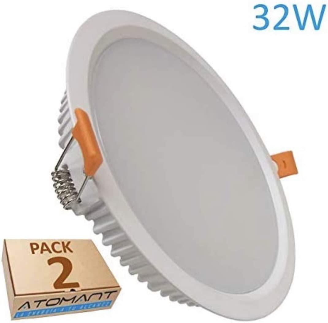 Led Atomant Pack 2x Panel downlight Led Redondo 32 W, Blanco Frio 6500K, Corte 205 mm Standard, 2800 Lumenes reales, 225mm, 2