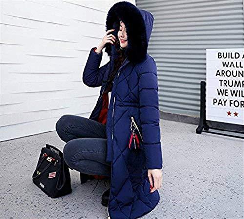 Grandes Parka Blau De Abrigos Casuales Capucha Termica Pluma Largo Elegantes Mujer Tallas Espesar Con Retro Delgado Piel Invierno Fashion Manga Outdoor IqxIrRwS