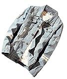 X-Future Men Fashion Washed Broken Pockets Slim Fit Denim Jean Jacket 1 2XL