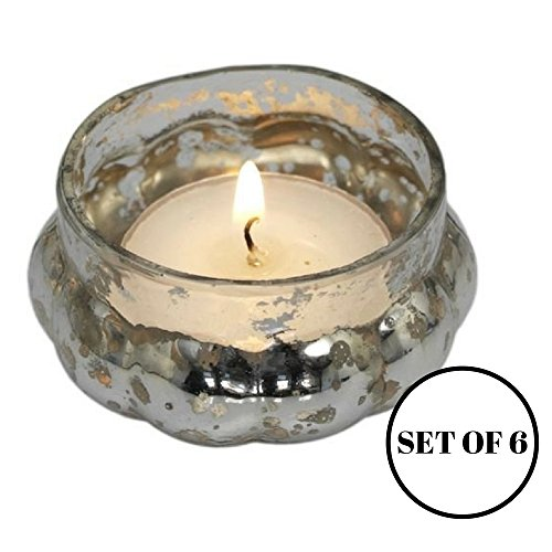Antique Silver Glass Pumpkin Tea Light Holder - Set of 6 - Ideal Gift for Wedding, Party, Bridal, Votive and Home Decor by Bold Home