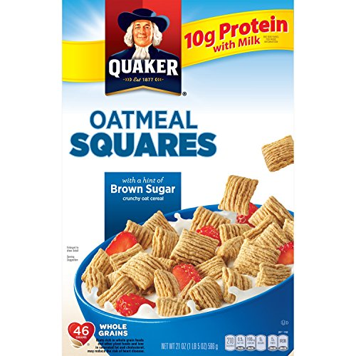 - Quaker Squares Crunchy Oatmeal Cereal with a Hint of Brown Sugar, 21 Ounce