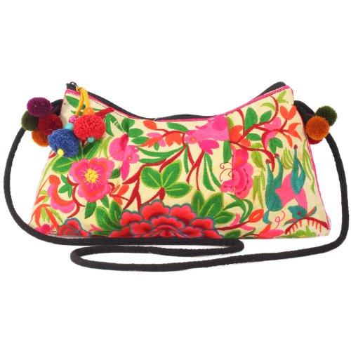 Hill Crossbody Bag Handmade Embroidered Tribe Changnoi Orange Garden gYPttC