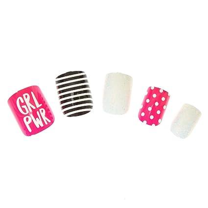 Claires Girls GRL PWR - Clavos falsos en negro/rosa/blanco ...