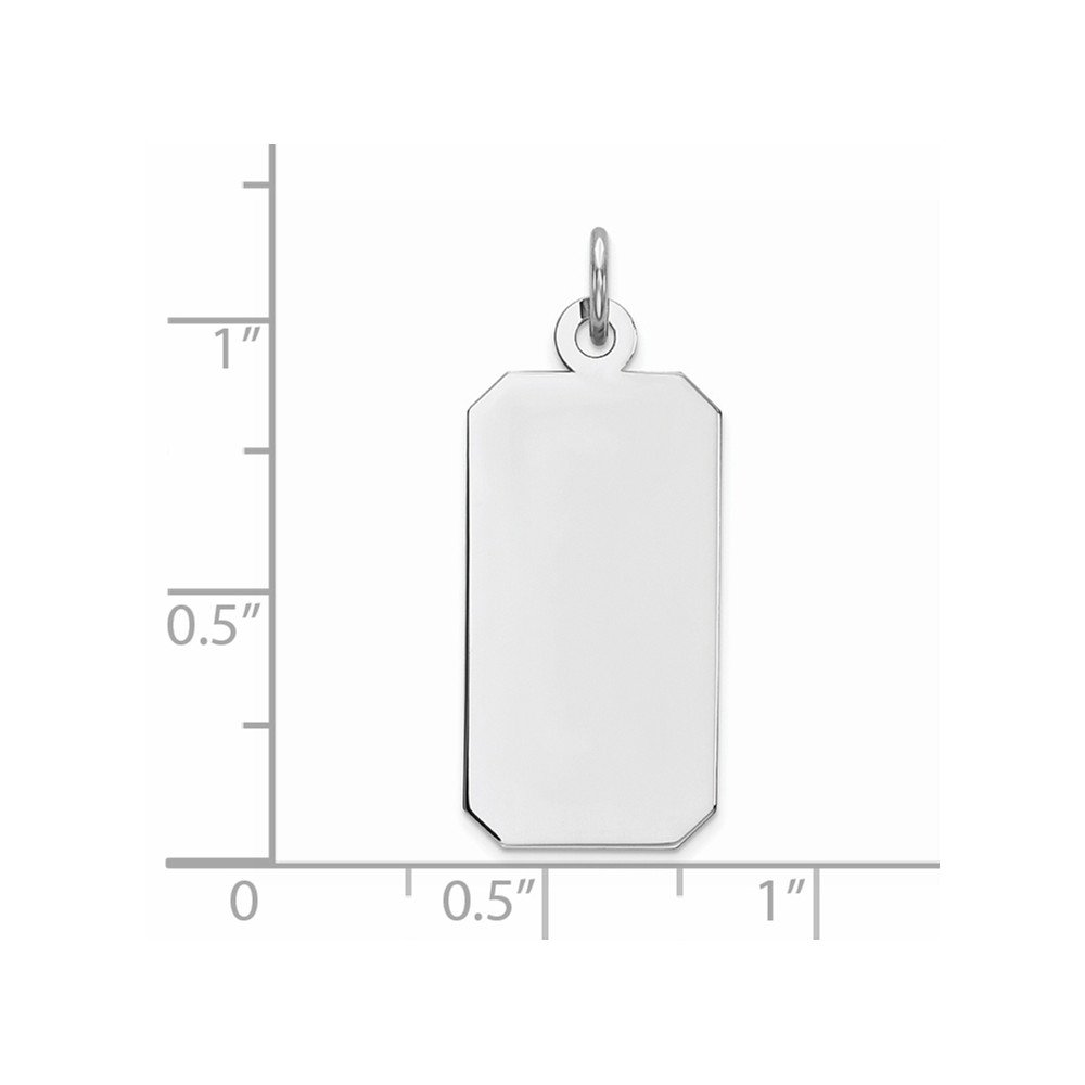 11mm x 28mm Solid 925 Sterling Silver Engraveable Rectangle Polished Front//Satin Back Disc Pendant Charm