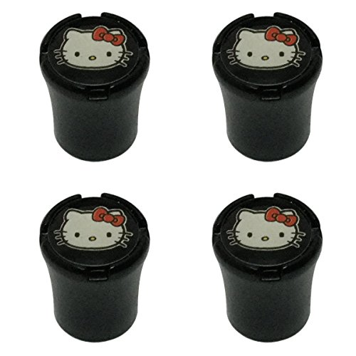 New USA Fast Ship 4pcs Fun Cute Lovely White Red Bow Hello Kitten Kitty Black Color Car Dustproof Caps Tire Wheel Stem Air Valve Caps Cover Car Accessories Compatible Fit For (KITTY) ()