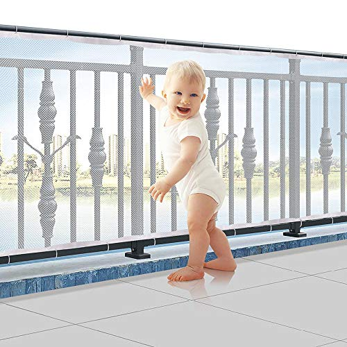 Child Proofing Banister Guard Net, Durable Baby Proofing Stairs Rail Safety Net, 10ft Lx2.5ft H Outdoor Balcony and Indoor Stair Railing Safety Mesh