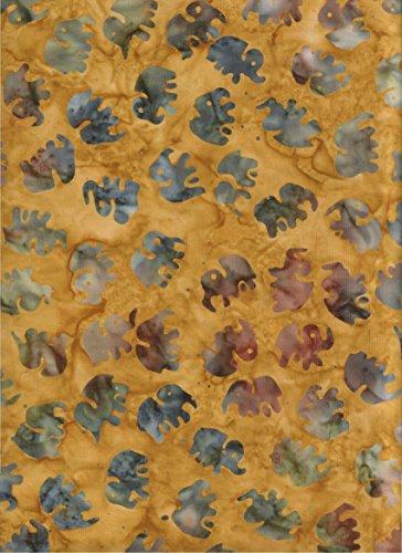 (Michael Miller Little Elephants on Amber Gold Batik ~ HALF YARD!!! ~ Michael Miller Batik #6075 Quilt Fabric 100% Cotton 45