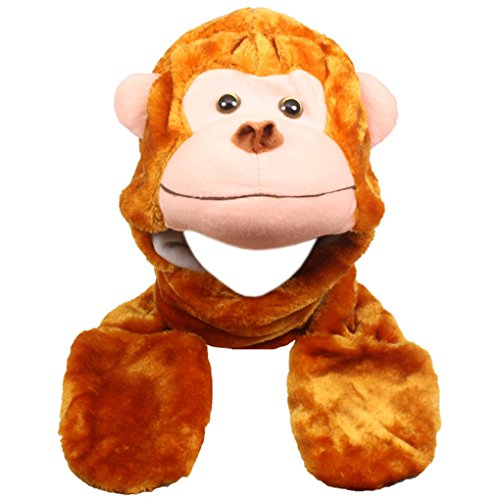 Silver Fever Plush Soft Animal Beanie Hat with Built-in Earmuffs, Scarf, Gloves (Monkey)