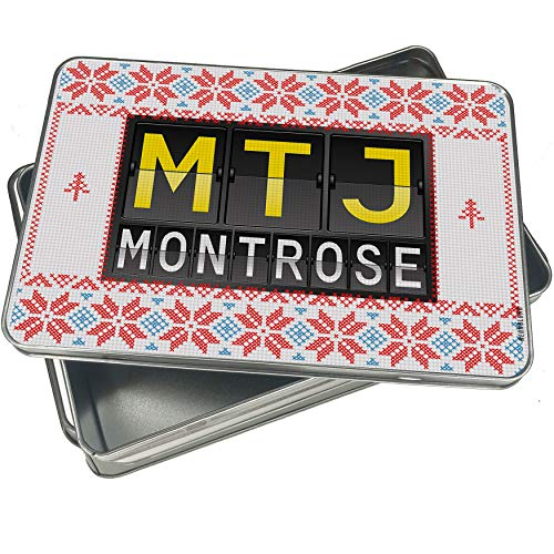 NEONBLOND Cookie Tin Box MTJ Airport Code for Montrose Vintage Christmas Pattern -